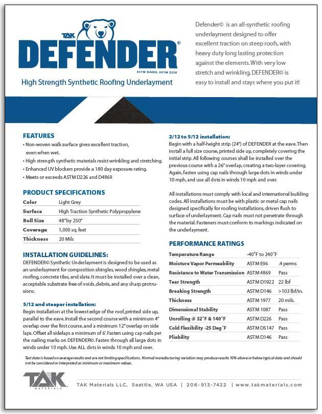 Defender Tak Materials